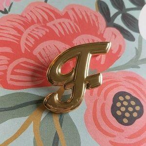 Vintage letter f brooch gold